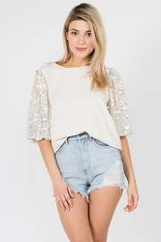On Twelfth Sequin Bubble Sleeve Top - Product Mini Image