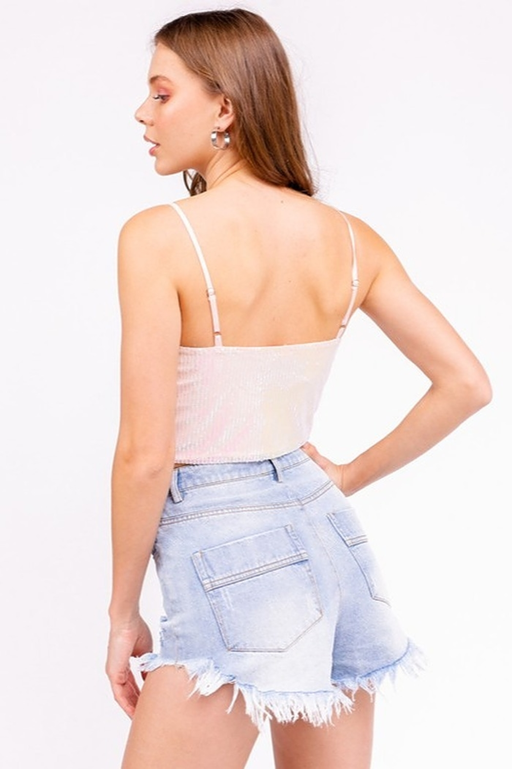 Le Lis Sequin Bustier Top - Side Cropped Image