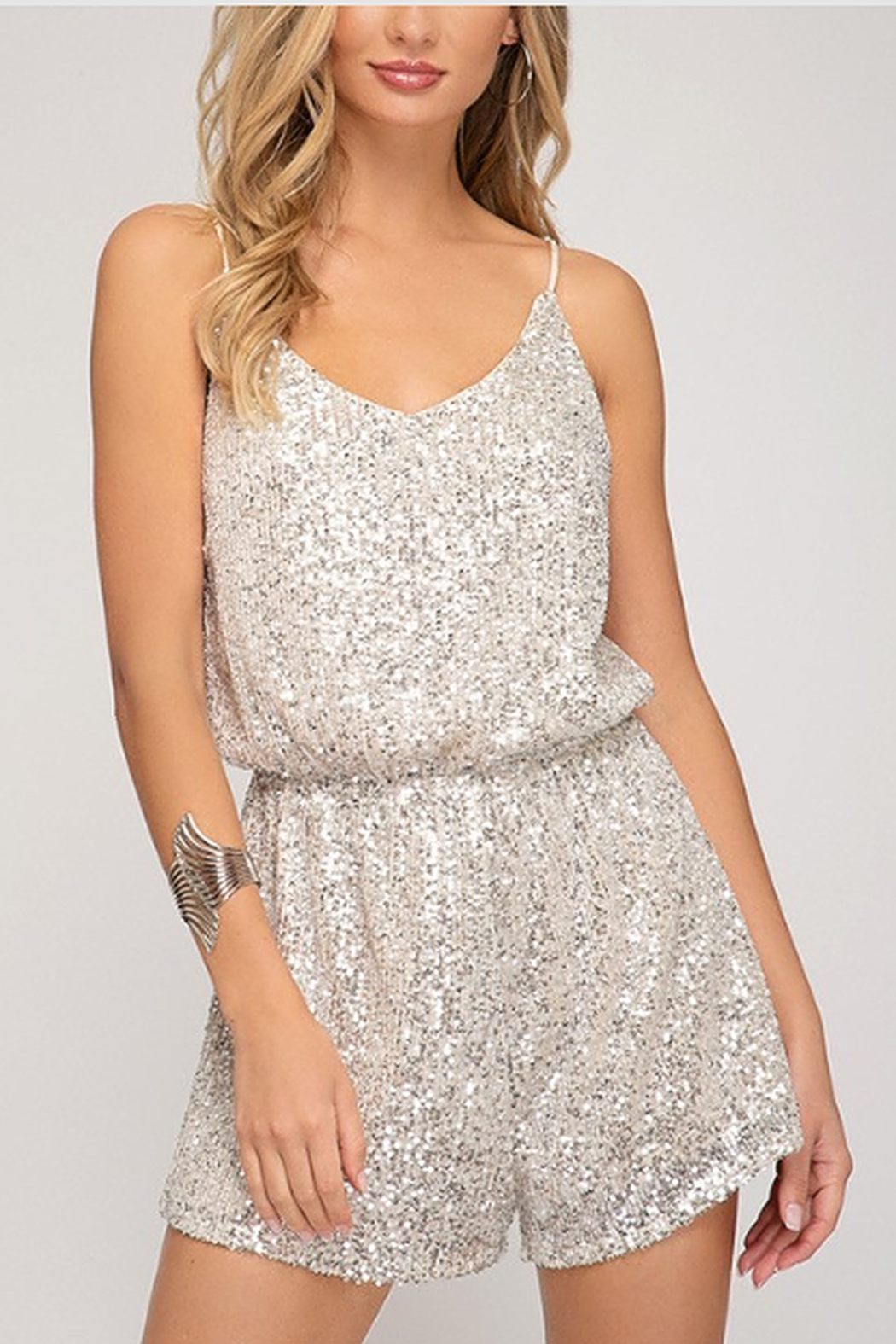 She + Sky Sequin Cami Romper - Main Image