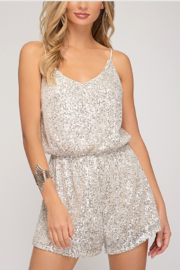 She + Sky Sequin Cami Romper - Front cropped