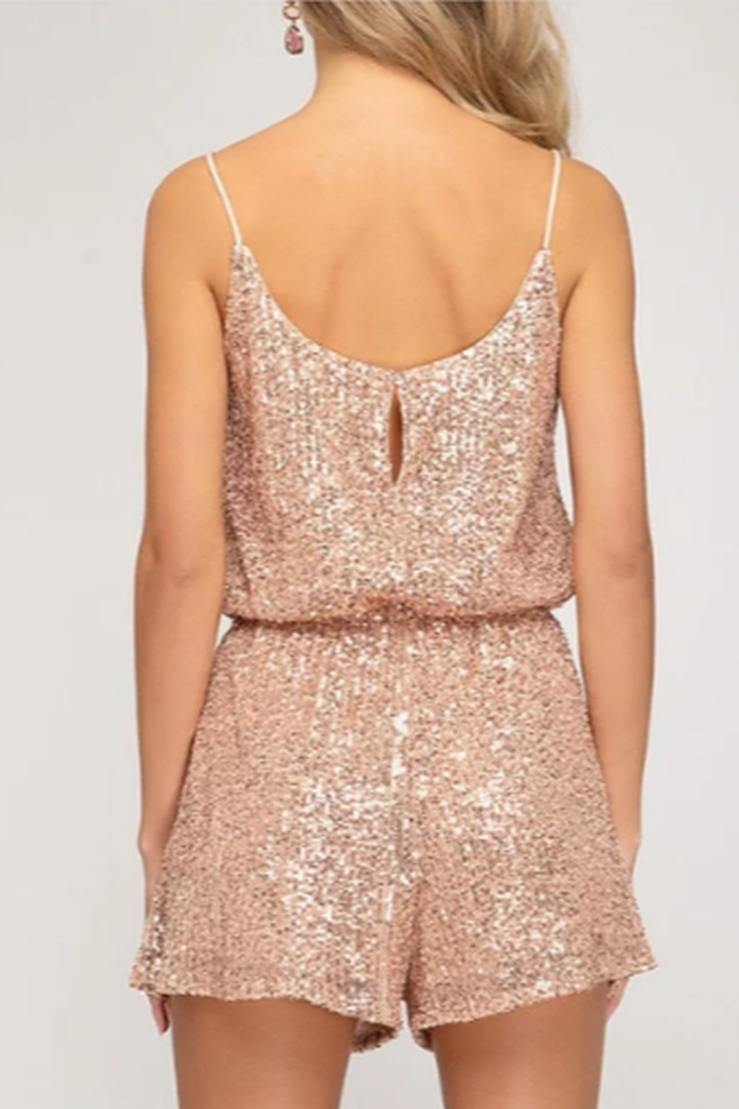She + Sky Sequin Cami Romper - Front Full Image