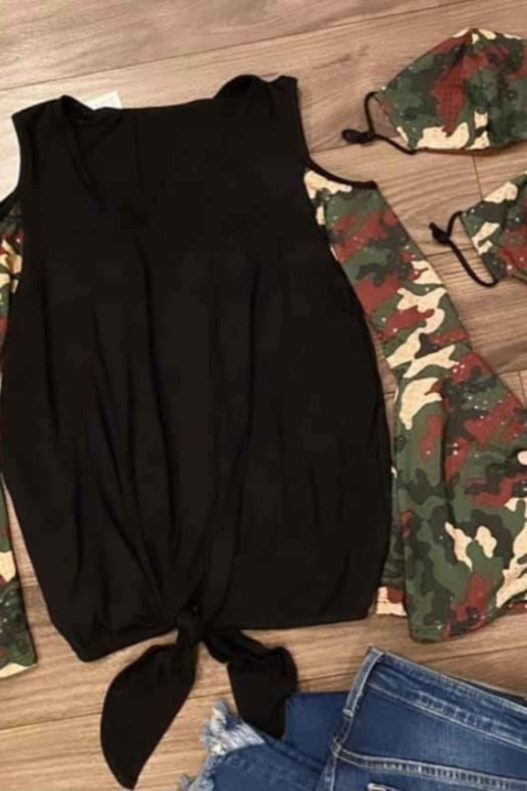 Vava by Joy Hahn Sequin Camo Sleeve Cold Shoulder Shirt - Front Full Image