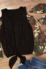 Vava by Joy Hahn Sequin Camo Sleeve Cold Shoulder Shirt - Front full body