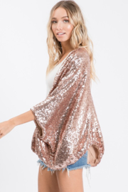 Ces Femme Sequin Cocoon Wrap - Front full body