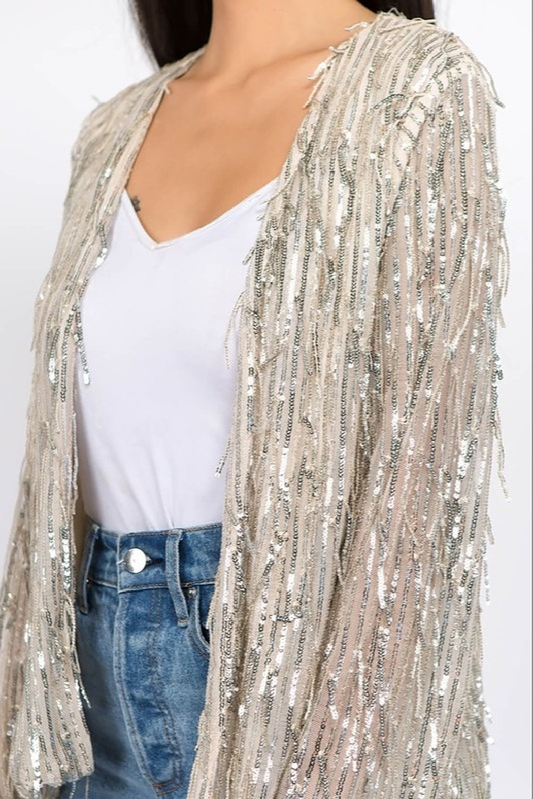 On Twelfth Sequin Collarless Blazer - Side Cropped Image