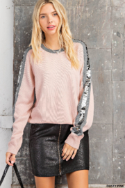 Kori Sequin Color Block Sweater - Product Mini Image