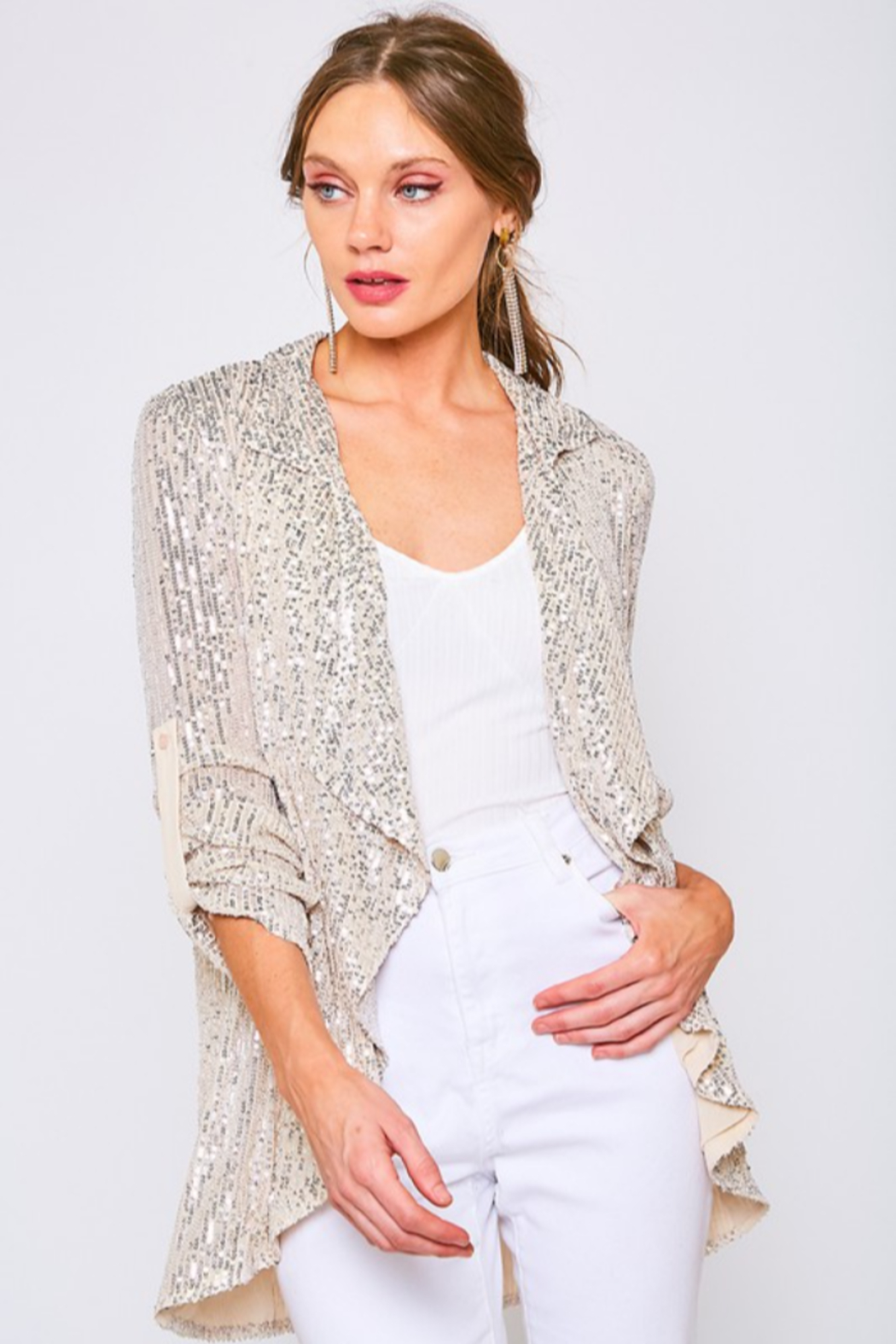 Vine & Love Sequin Draped  Blazer - Front Cropped Image