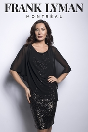 Frank Lyman Sequin Dress with Overlay - Product Mini Image