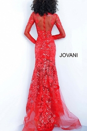 Jovani Sequin Embellished Sheer Gown - Front full body