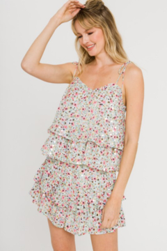 FREE THE ROSES Sequin Floral Top - Product List Image