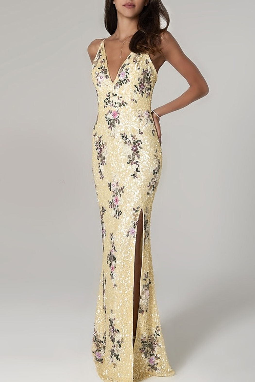 Scala Sequin Floral V-Neck Gown - Main Image