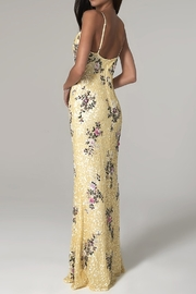 Scala Sequin Floral V-Neck Gown - Front full body