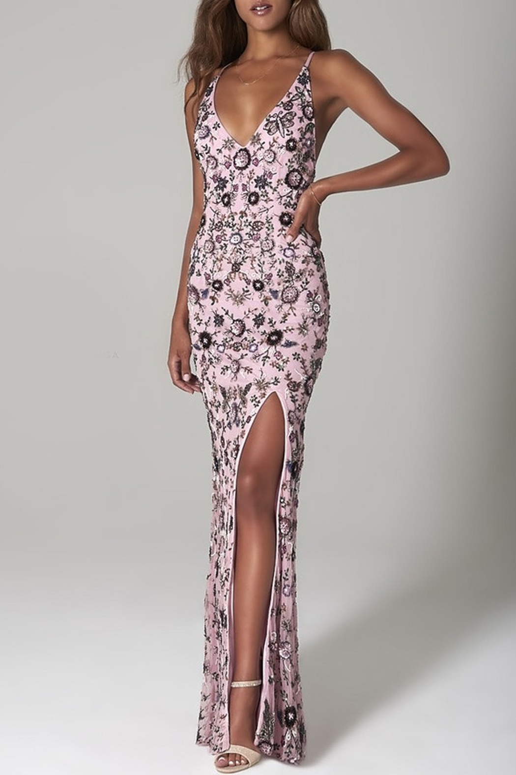 Scala Sequin Floral X-Back Gown - Main Image