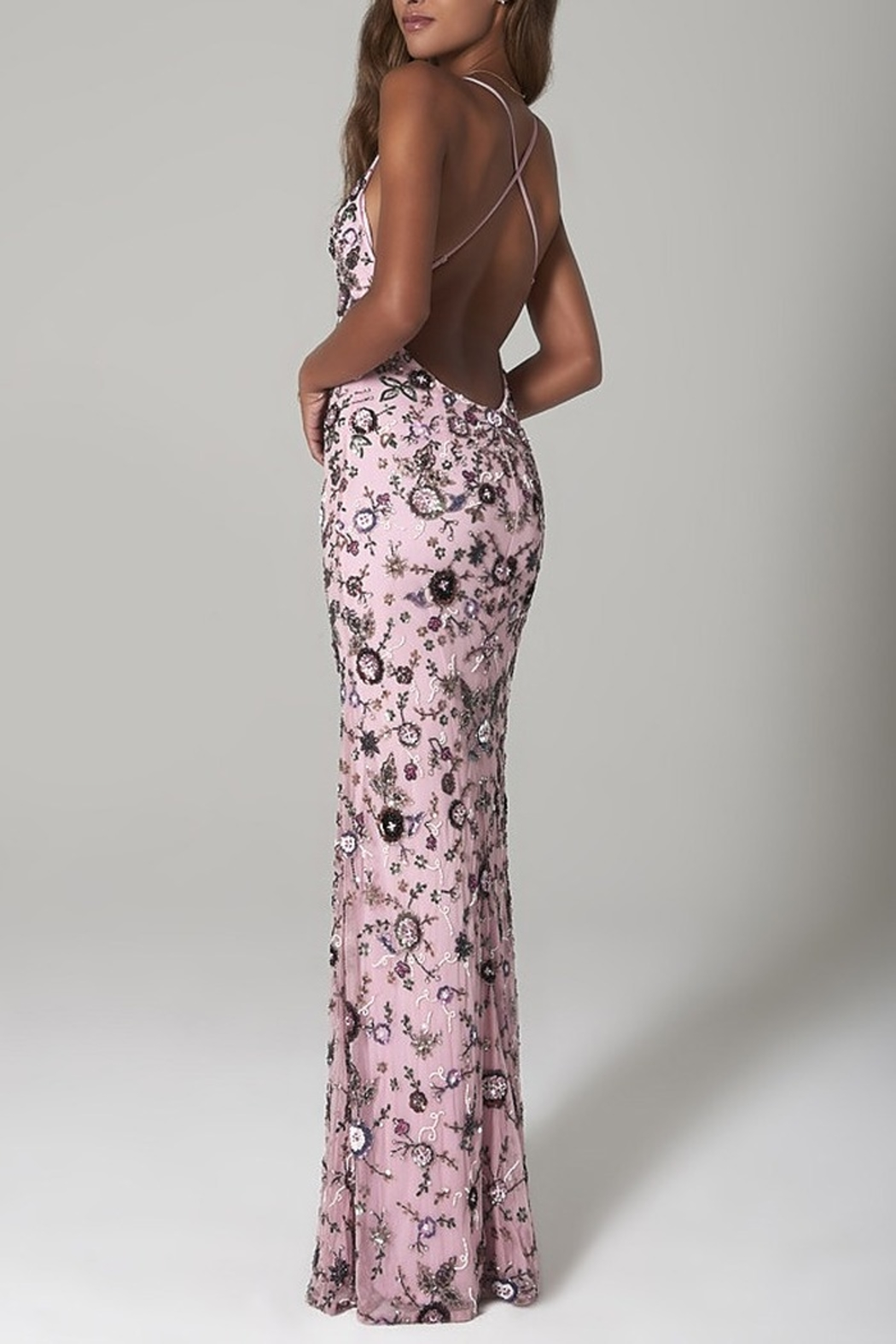Scala Sequin Floral X-Back Gown - Front Full Image