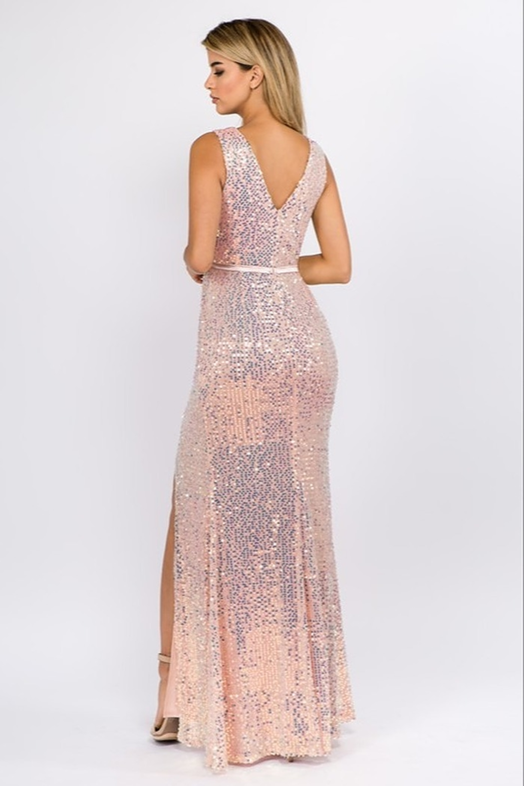 maniju Sequin Formal Gown - Side Cropped Image