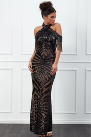 City Goddess  Sequin & Fringe Gown - Front cropped
