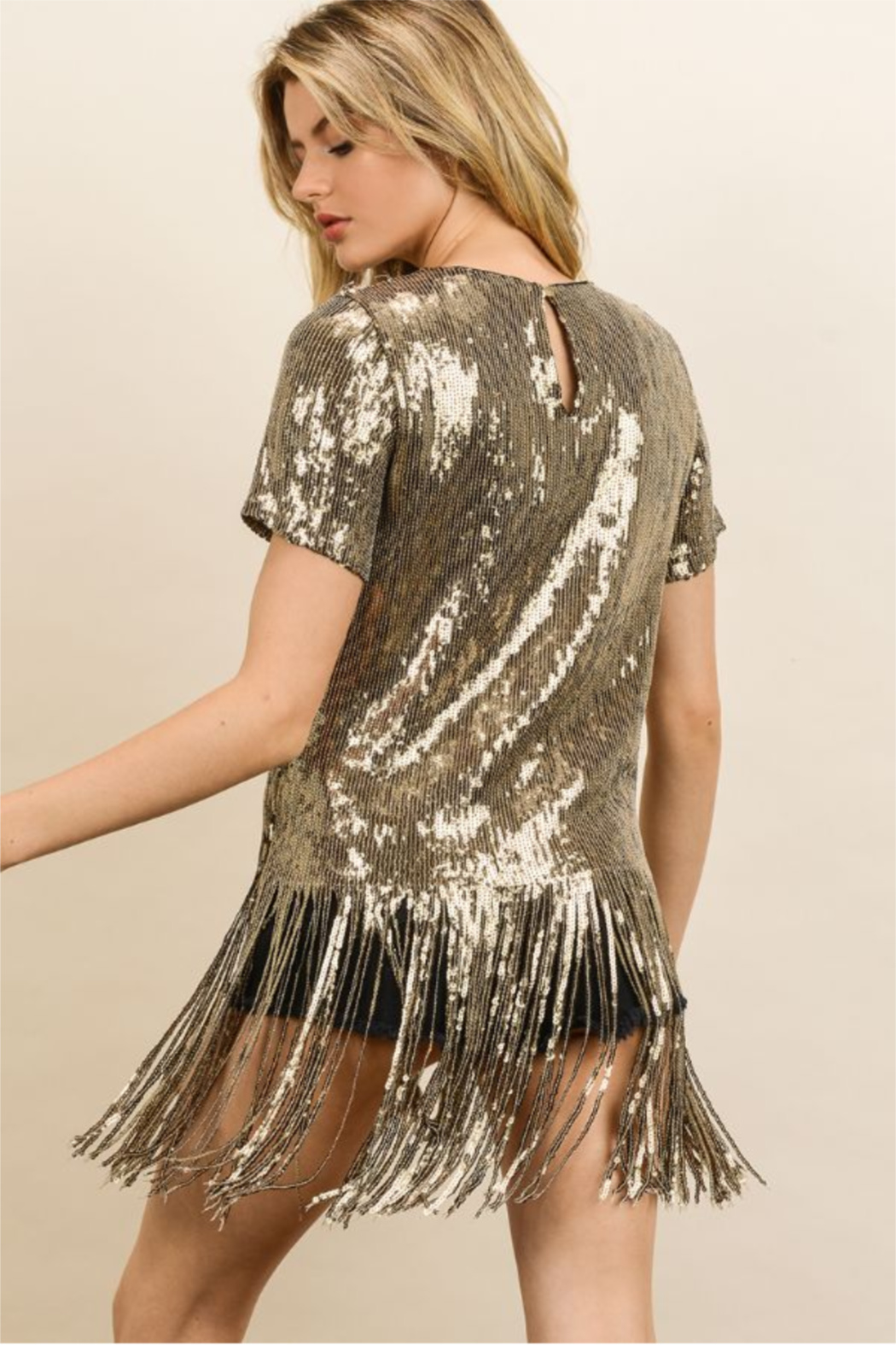 dress forum Sequin Fringe Party Tee - Side Cropped Image