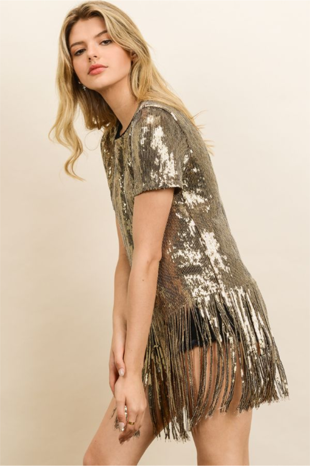 dress forum Sequin Fringe Party Tee - Front Full Image