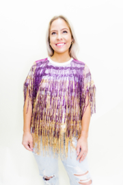 Queen Of Sparkles Sequin Fringe Tee - Product Mini Image