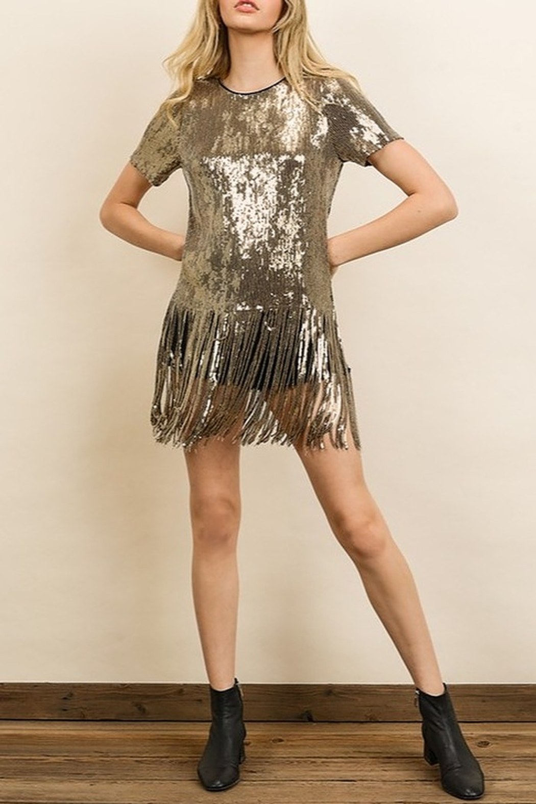 dress forum Sequin Fringe Tee - Front Cropped Image