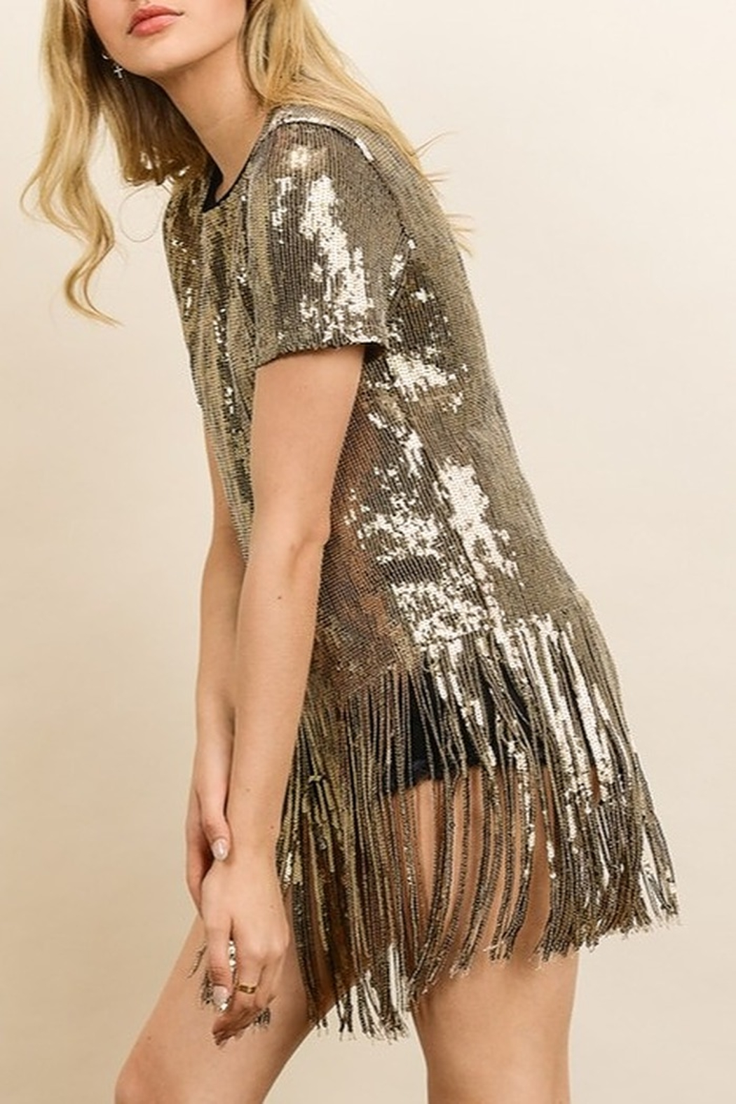 dress forum Sequin Fringe Tee - Side Cropped Image