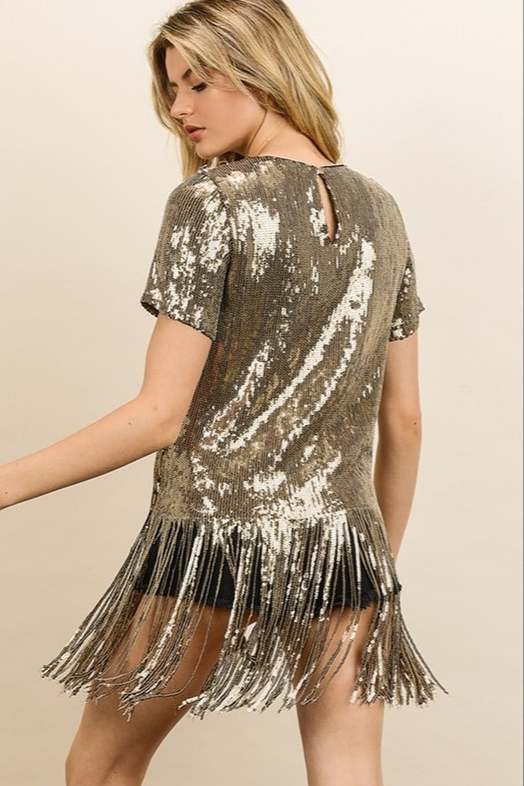 dress forum Sequin Fringe Tee - Front Full Image