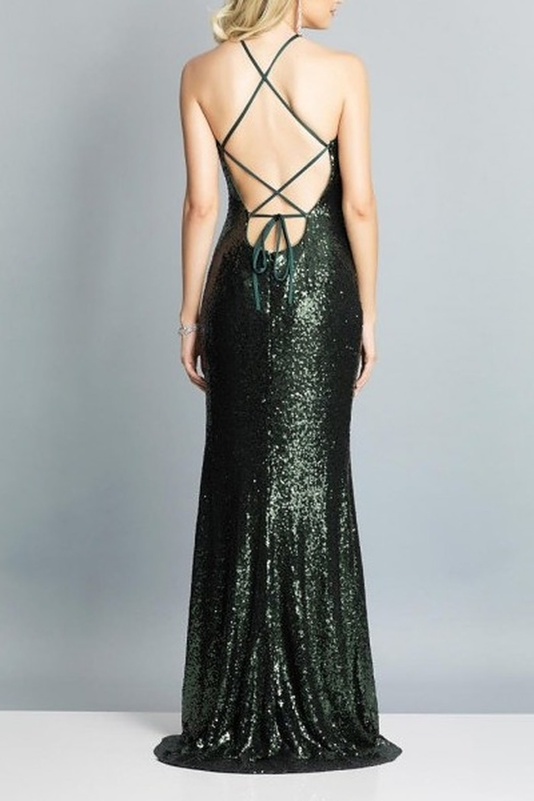 Dave and Johnny Sequin Gown W/ TIe Back & Slit - Front Full Image