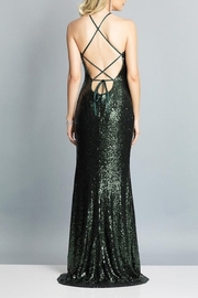 Dave and Johnny Sequin Gown W/ TIe Back & Slit - Front full body