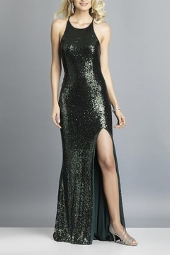 Dave and Johnny Sequin Gown W/ TIe Back & Slit - Product List Image