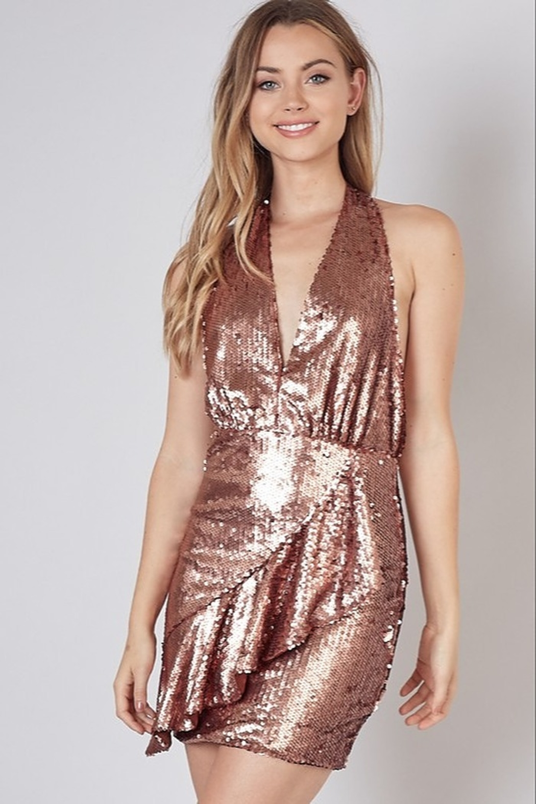 Do & Be Sequin Halter Dress - Front Cropped Image