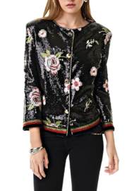 Alberto Makali Sequin Jacket With Bomber Ribbed Trim - Product Mini Image