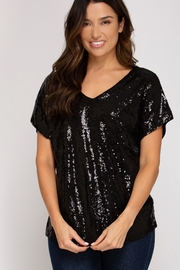 She + Sky Sequin Knit Top - Product Mini Image