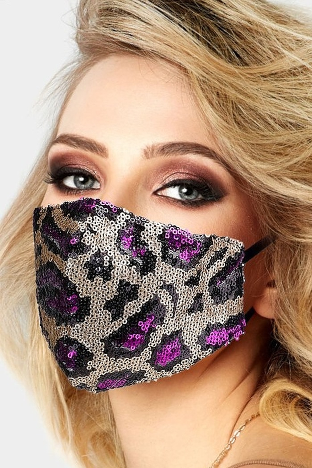 Wona Trading Sequin Leopard Face Mask - Front Full Image