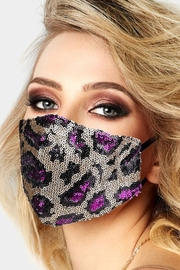 Wona Trading Sequin Leopard Face Mask - Front full body