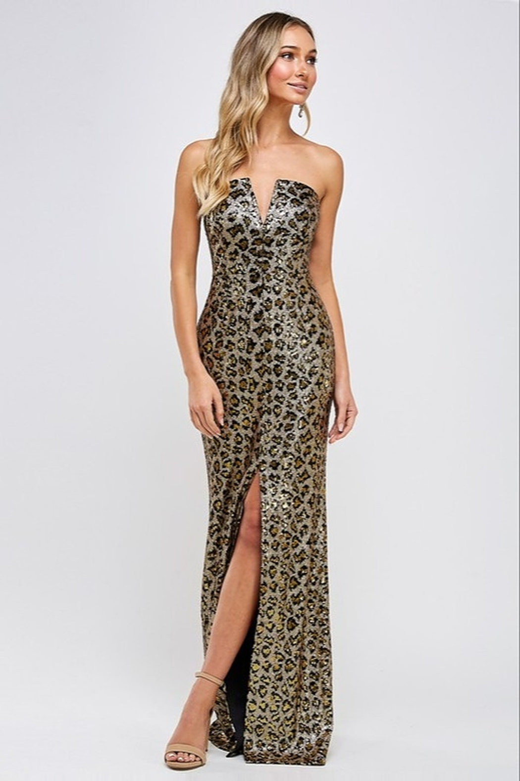 maniju Sequin Leopard Gown - Front Cropped Image