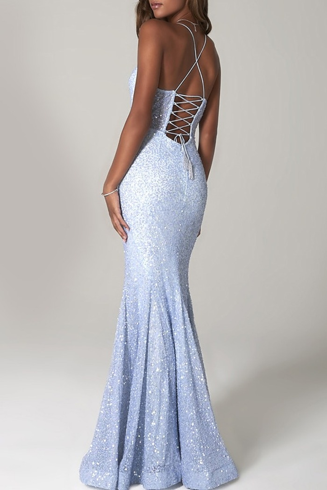 Scala Sequin Mermaid Gown with Sheer Bodice - Front Full Image