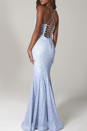 Scala Sequin Mermaid Gown with Sheer Bodice - Front full body
