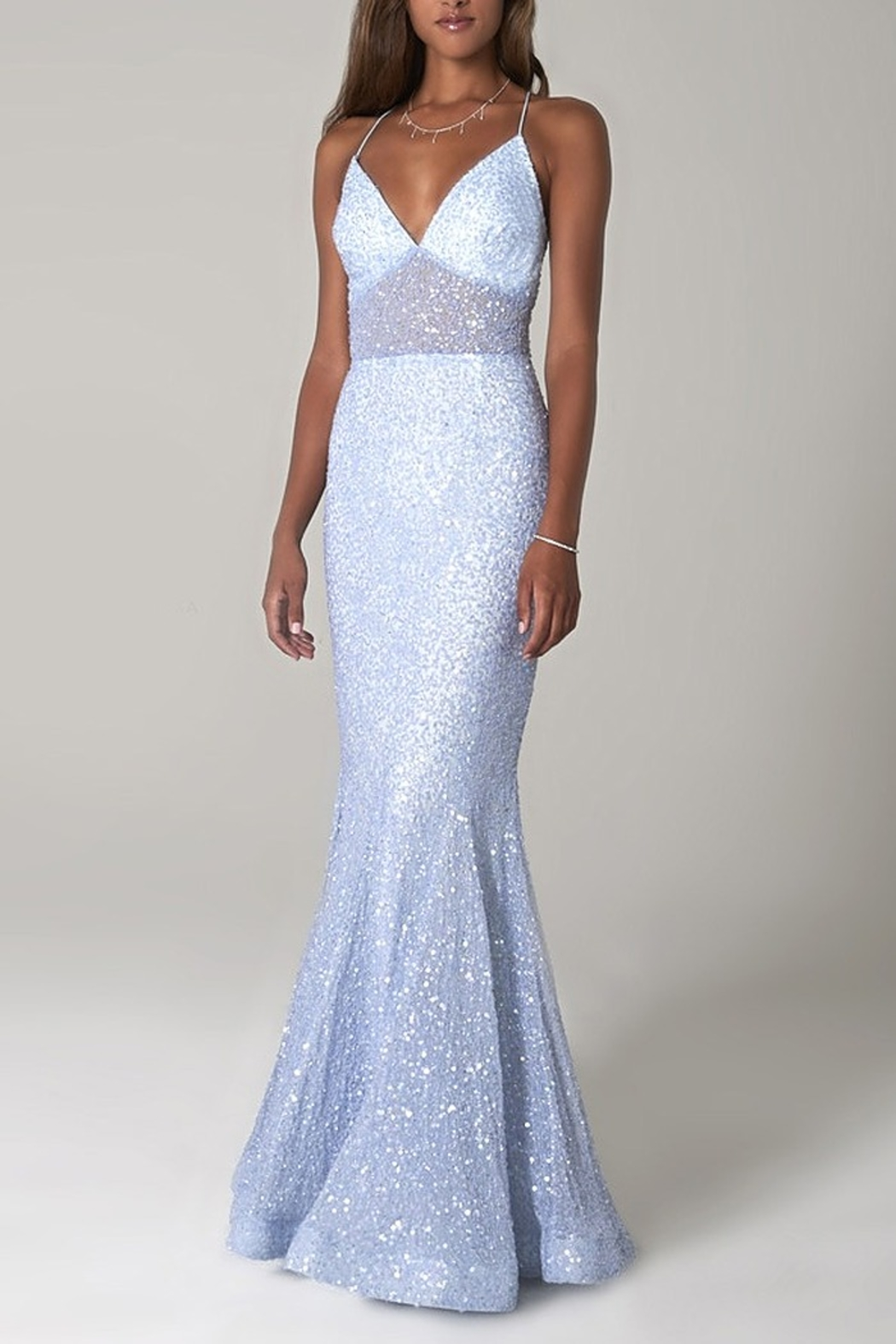 Scala Sequin Mermaid Gown with Sheer Bodice - Main Image