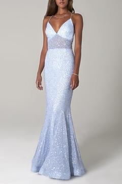 Scala Sequin Mermaid Gown with Sheer Bodice - Product List Image