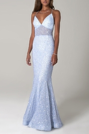 Scala Sequin Mermaid Gown with Sheer Bodice - Product Mini Image