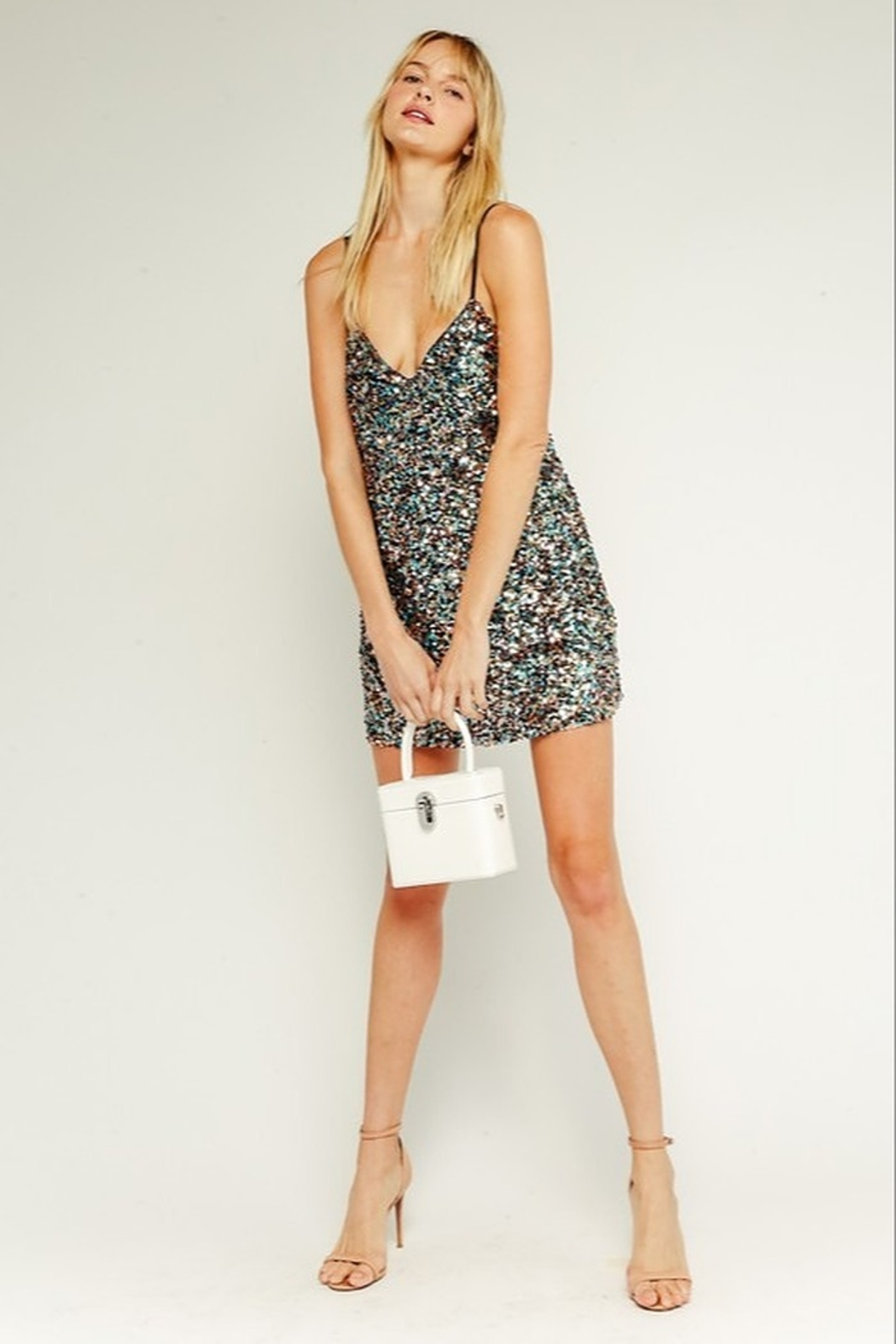 Olivaceous  Sequin Mini Dress - Side Cropped Image