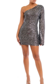 luxxel Sequin One Shoulder Mini Dress - Front cropped