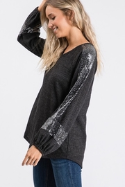 Hailey & Co Sequin Panel Bubble Sleeve Thermal VNeck Top - Back cropped