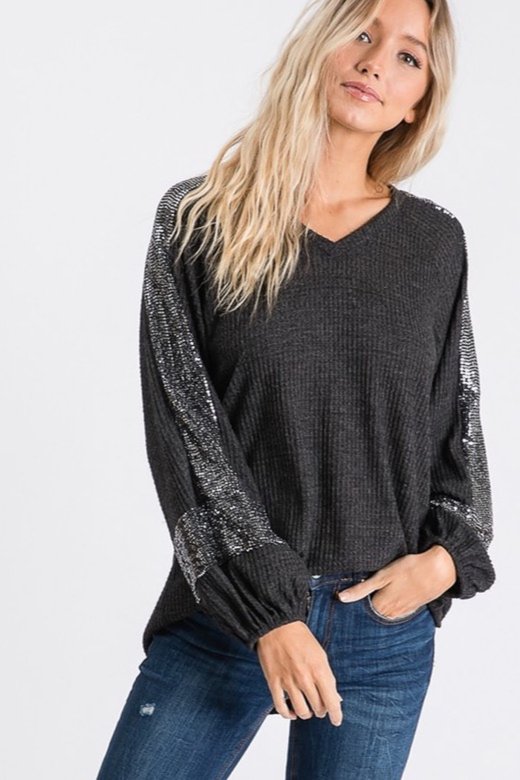 Hailey & Co Sequin Panel Bubble Sleeve Thermal VNeck Top - Main Image