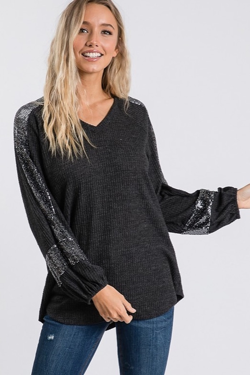 Hailey & Co Sequin Panel Bubble Sleeve Thermal VNeck Top - Front Full Image