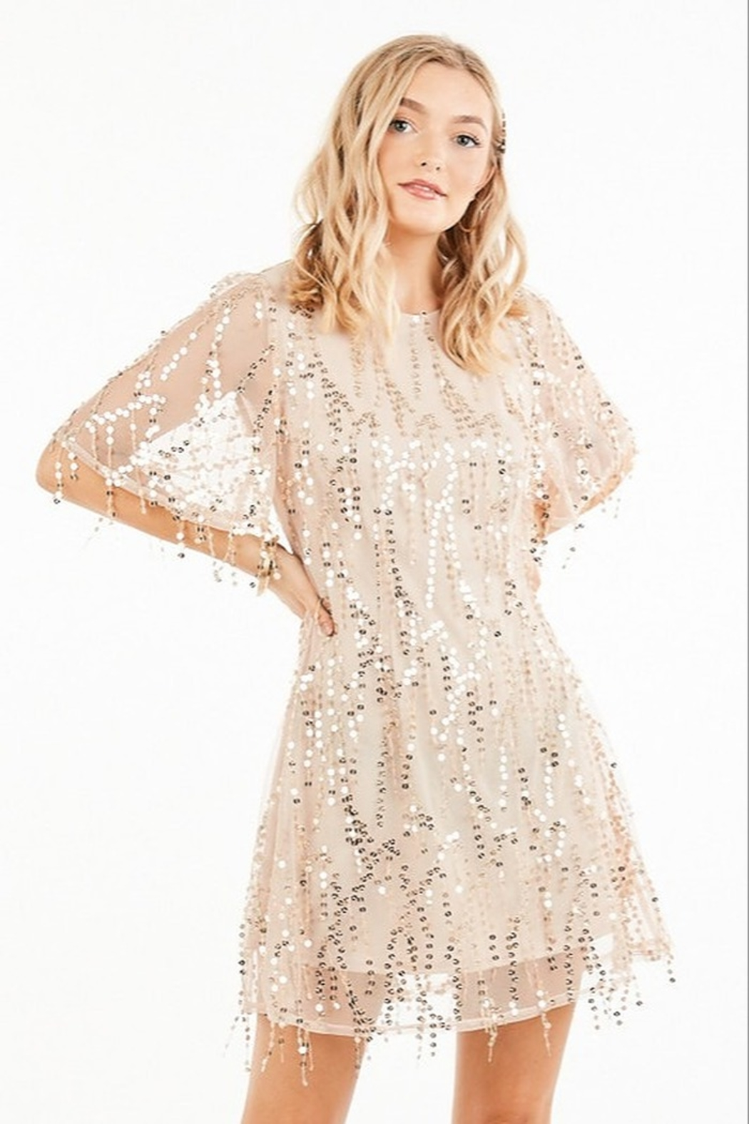 Very J Sequin Party Dress - Front Cropped Image