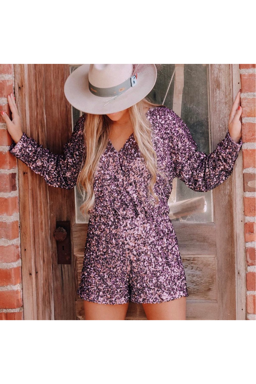 Endless Rose Sequin Party Romper - Back Cropped Image