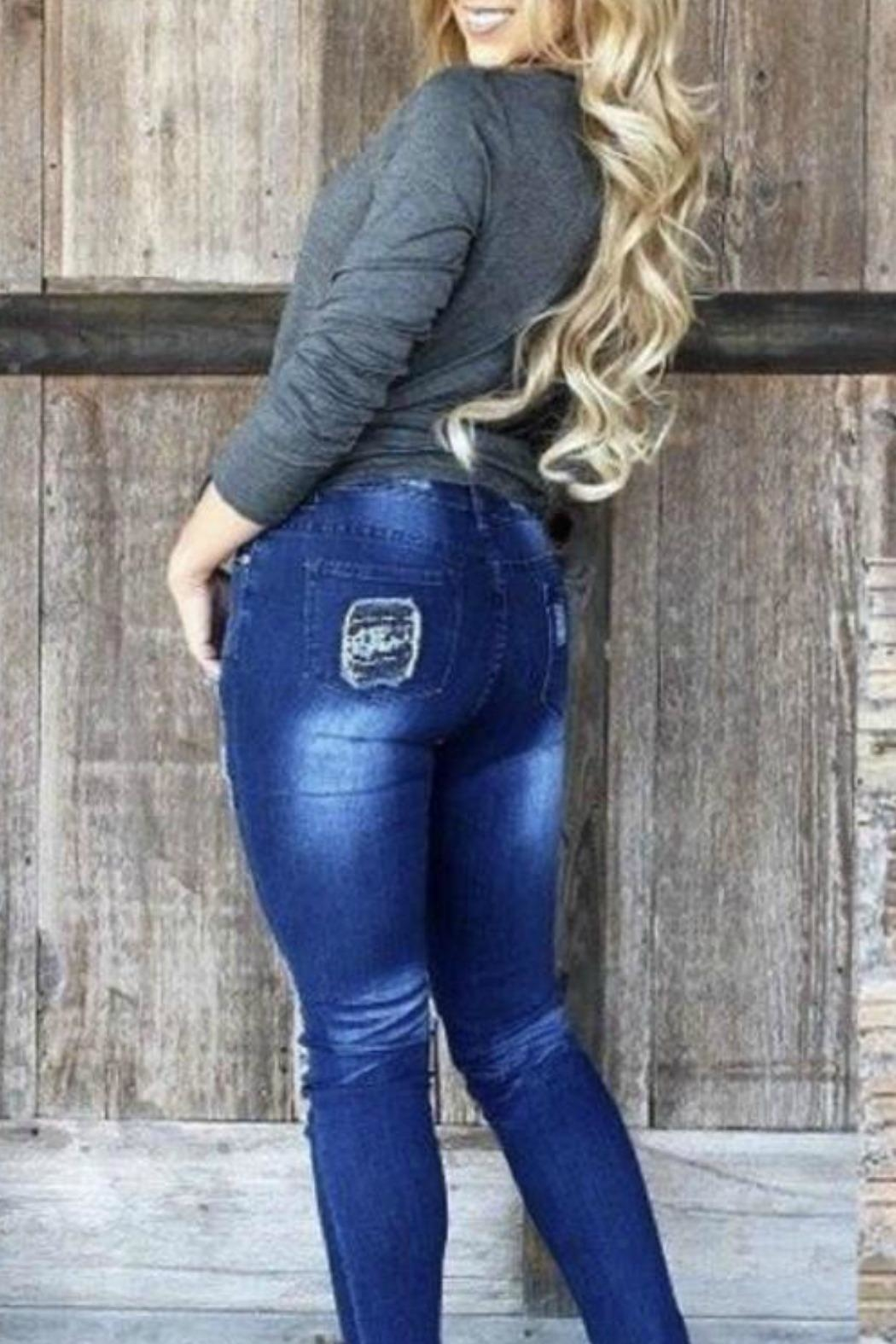L&B Sequin Patch Jeans - Front Full Image
