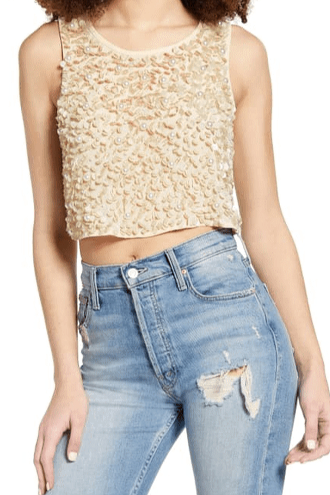 Endless Rose Sequin & Pearl Tank - Front Cropped Image