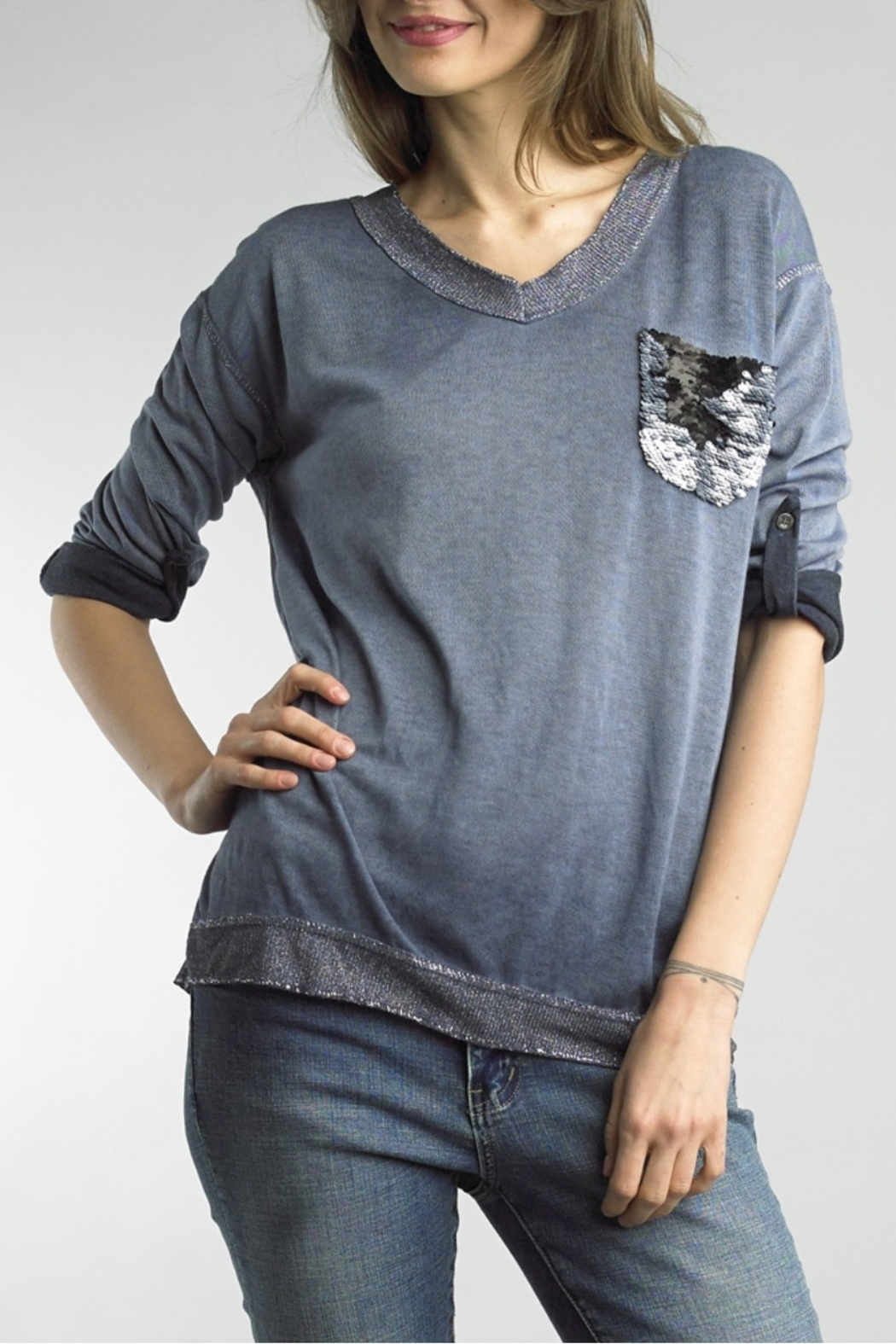 Tempo Paris Sequin PockeT Tee - Front Cropped Image